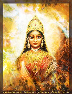 Lakshmi Goddess Of Abundance In A Galaxy Poster by Ananda Vdovic