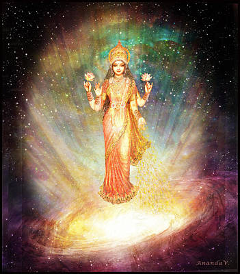Lakshmi Goddess Of Abundance Rising From A Galaxy Poster by Ananda Vdovic