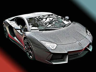 Lamborghini Aventador In Matte Black Finish Poster by Samuel Sheats
