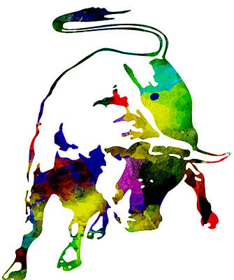Lamborghini Bull Emblem Colorful Abstract. Poster