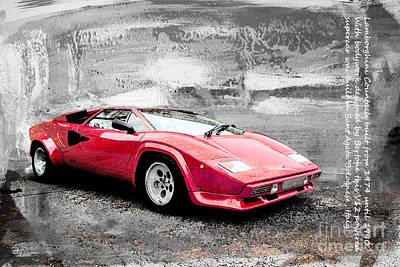 Lamborghini Countach Poster by Roger Lighterness