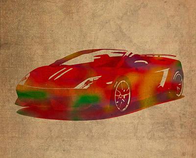 Lamborghini Gallardo 2013 Classic Sports Car Watercolor On Worn Distressed Canvas Poster by Design Turnpike