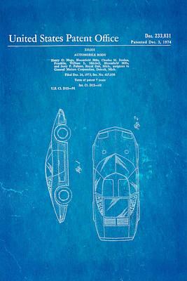 Lamborghini Style Gmc Automobile Patent Art 1974 Blueprint Poster