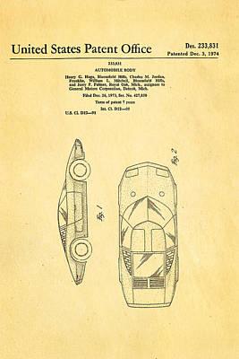 Lamborghini Style Gmc Automobile Patent Art 1974 Poster