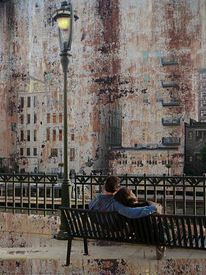 Lamp Post And Couple On Bench Poster
