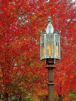 Lamp Post In Fall Poster