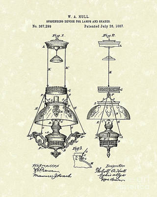 Lamp Suspender 1887 Patent Art Poster by Prior Art Design