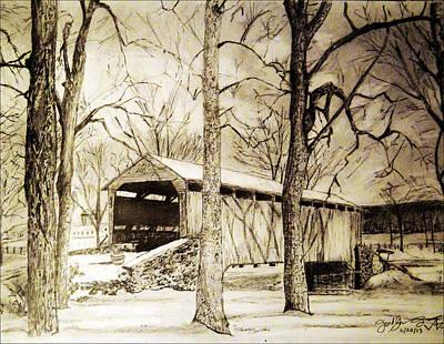 Lancaster Covered Bridge In Winter Poster