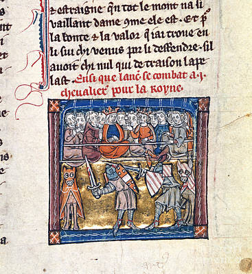 Lancelot Fights For Guinevere Poster by British Library