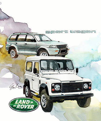 Land Rover Defender And Mitsubishi Sport Wagon Poster by Yoshiharu Miyakawa