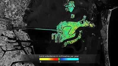 Land Subsidence In Venice Poster by Esa/atg Medialab