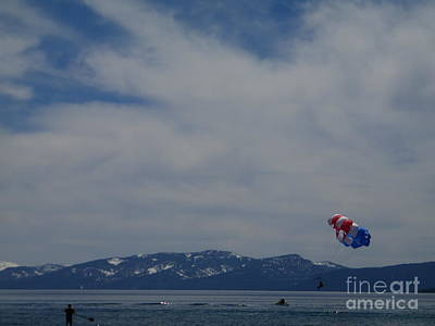 Poster featuring the photograph Parasail Landing by Bobbee Rickard