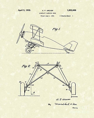 Landing Gear 1932 Patent Art Poster by Prior Art Design