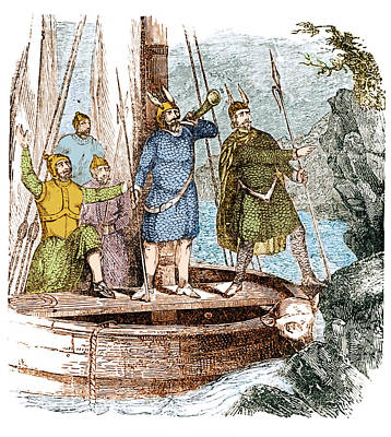 Landing Of The Vikings In The Americas Poster by Science Source