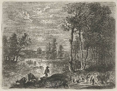 Landscape At Night With Farmers And Livestock Poster
