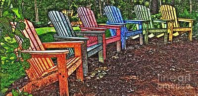 Landscape - Chairs - Adirondack Aisle Poster