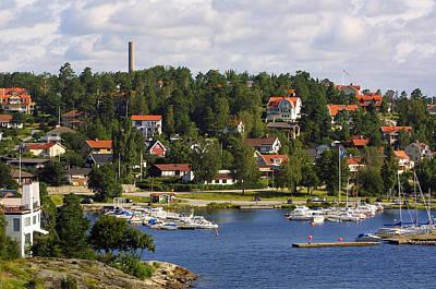 Landscape Habor Sweden Poster by Linda Phelps