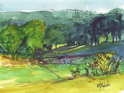 Landscape Lakeway Texas Watercolor Painting By Kmcelwaine Poster by Kathleen McElwaine