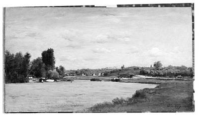 Landscape On A River Poster by Charles-Fran�ois Daubigny
