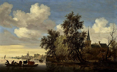 Poster featuring the digital art Landscape by Salomon van Ruysdael