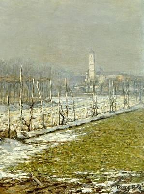 Landscape. Winter Sun Poster by Emilio Longoni