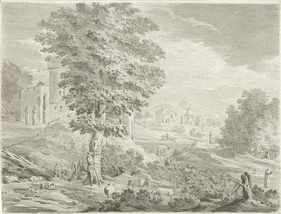 Landscape With A City In The Background, A Shepherd Poster
