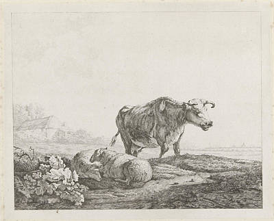 Landscape With A Cow And Two Sheep, Christiaan Godfried Poster by Artokoloro