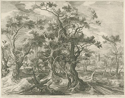 Landscape With A Prophet Torn By A Lion From Judah Poster by Jan Van Londerseel And Gillis Claesz. De Hondecoeter And Claes Jansz. Visscher Ii