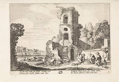 Landscape With A Ruined Tower June, Print Maker Jan Van De Poster by Jan Van De Velde Ii And  Reinier Telle