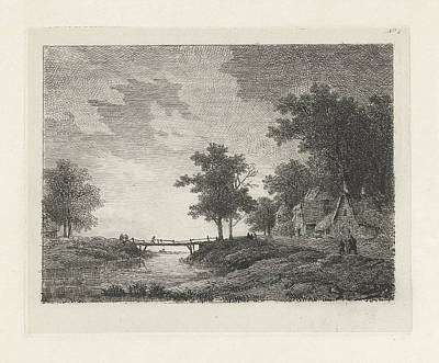Landscape With Figures Near A Bridge, Print Maker Remigius Poster