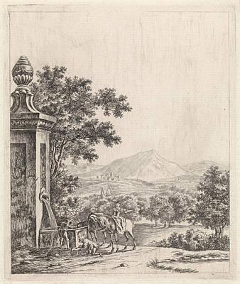 Landscape With Fountain, Jan Van Huissen Poster by Jan Van Huissen