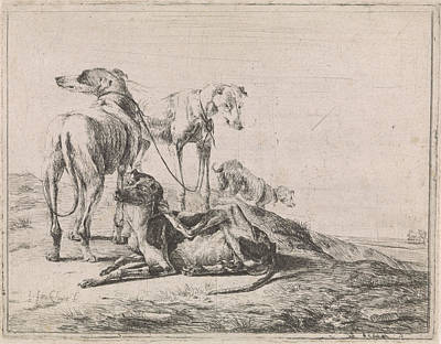 Landscape With Four Greyhounds, Jacob De Jonckheer Poster by Jacob De Jonckheer