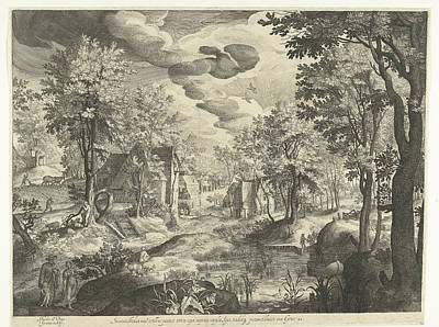 Landscape With Hagar And Ishmael, Germany Poster by Nicolaes De Bruyn