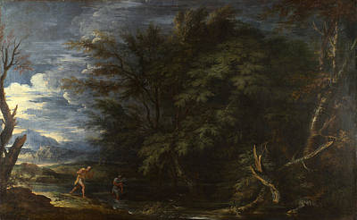 Landscape With Mercury And The Dishonest Woodman Poster by Salvator Rosa