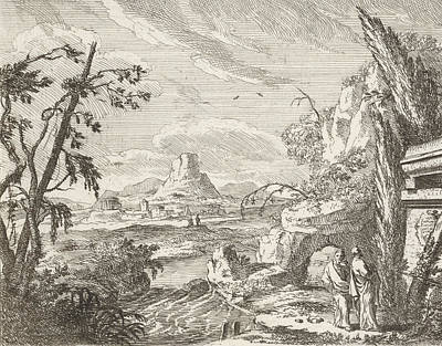 Landscape With Mountains And Ruinous Buildings Poster