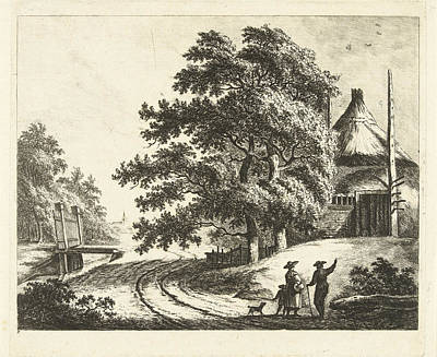 Landscape With Rick On Mound On Road Along Ditch Poster by Artokoloro