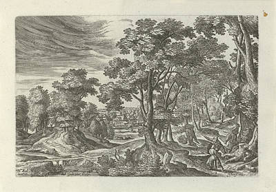 Landscape With Robbery Of The Traveler, Julius Goltzius Poster by Julius Goltzius And J. Janssonius