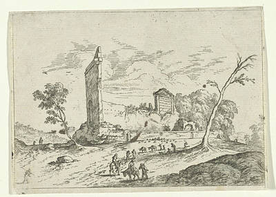 Landscape With Roman Ruins And Donkey Shepherds Poster