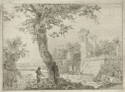Landscape With Ruins And Four Figures, In The Foreground Poster by Artokoloro