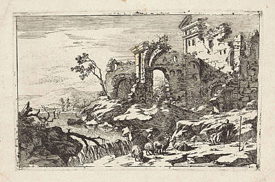 Landscape With Ruins And Waterfall, Jan Smees Poster