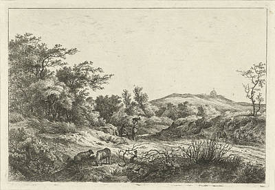 Landscape With Shepherd And Wife, Print Maker Hermanus Fock Poster