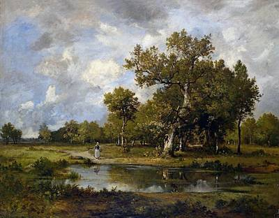 Landscape With Stream And Walker Poster by Leon Richet