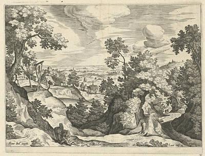 Landscape With The Good Samaritan, Print Maker Johann Poster by Johann Sadeler I And Hans Bol