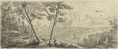 Landscape With Two Men Conversing, Print Maker Lucas Van Poster by Artokoloro