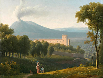 Landscape With Vesuvius In The Distance Poster by Alexandre-Hyacinthe Dunouy