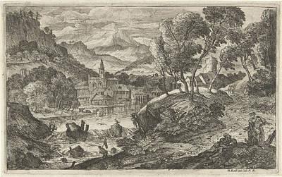 Landscape With Waterfall And Village, Adriaen Van Der Kabel Poster by Adriaen Van Der Kabel And N. Robert