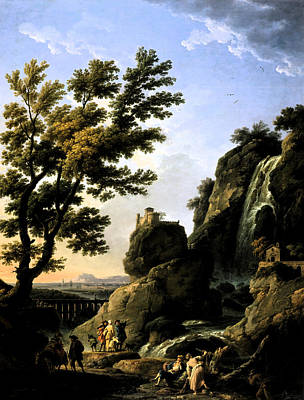 Poster featuring the digital art Landscape With Waterfall by Joseph Vernet
