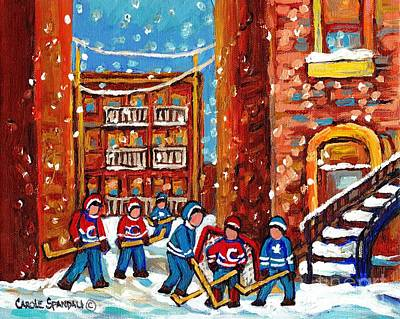 Laneway Hockey Game Montreal Paintings Winter Fun In The City Carole Spandau Poster by Carole Spandau