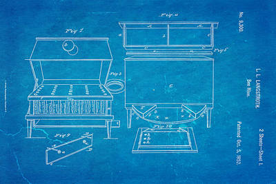 Langstroth Bee Hive Patent Art 1852 Blueprint Poster by Ian Monk