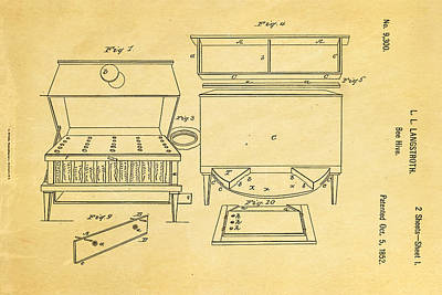 Langstroth Bee Hive Patent Art 1852 Poster by Ian Monk
